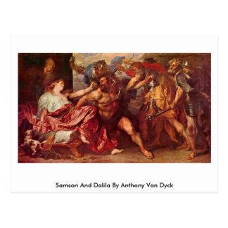 Samson y Dalila de Anthony Van Dyck Tarjeta Postal