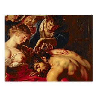 Samson y Delilah, c.1609 Postal