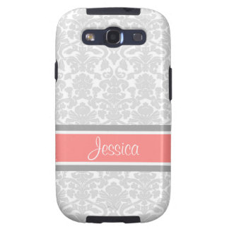 Samsung Coral Damask Custom Name Galaxy SIII Cover