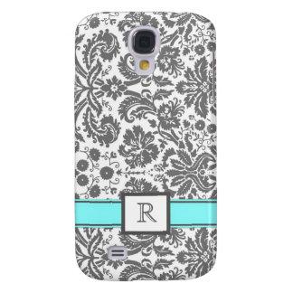 Samsung Custom Monogram Grey Aqua Floral Damask Samsung Galaxy S4 Cover
