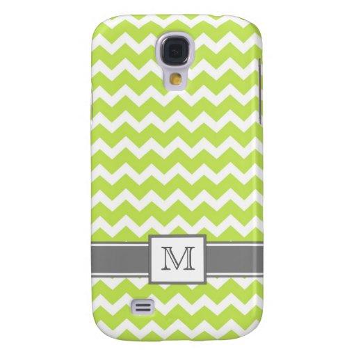 Samsung Custom Monogram Grey Lime Chevrons Galaxy S4 Case