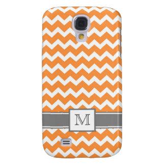 Samsung Custom Monogram Grey Orange Chevrons Galaxy S4 Cover