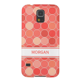 Samsung Custom Name Coral Circles Pattern Galaxy S5 Covers