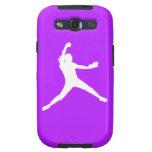 Samsung Galaxy Case Fastpitch White Purple Samsung Galaxy SIII Covers