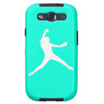 Samsung Galaxy Case Fastpitch White Turquoise Galaxy S3 Cases