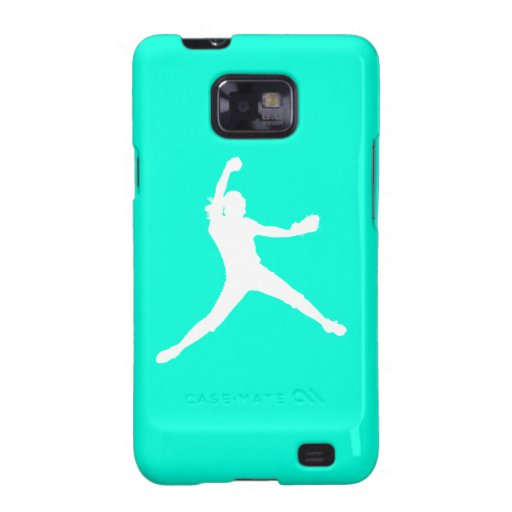 Samsung Galaxy Case Fastpitch White Turquoise Galaxy SII Covers