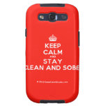 [Crown] keep calm and stay clean and sober  Samsung Galaxy S3 Cases