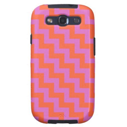 Samsung Galaxy S3 Vibe Case, Pink, Orange Chevrons Galaxy SIII Cases