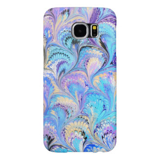 Samsung Galaxy S6 Case Blue and Lavender Marbled