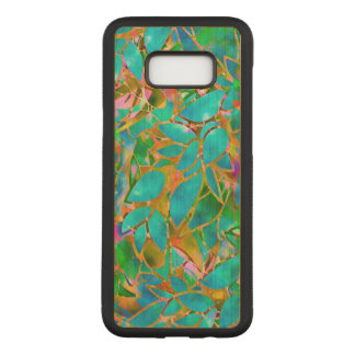 Samsung Galaxy S8+ Wood Case Floral Stained Glass