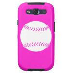 Samsung Galaxy S Softball White on Pink Samsung Galaxy SIII Cases