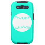 Samsung Galaxy S Softball White on Turquoise Samsung Galaxy S3 Covers