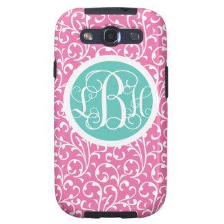 Samsung Phone Cover Case Monogram Cute Pink Swirls Galaxy SIII Covers