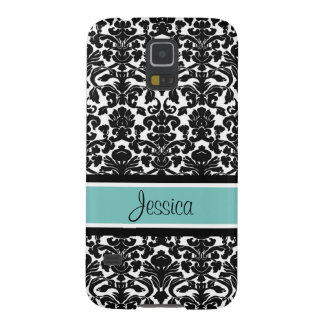 Samsung Teal Damask Custom Name Galaxy S5 Cases