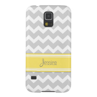 Samsung Yellow Gray Chevron Custom Name Galaxy S5 Case