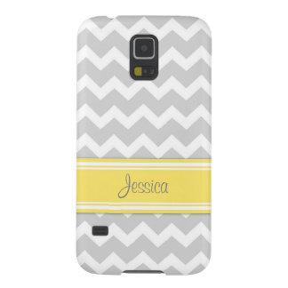 Samsung Yellow Gray Chevron Custom Name Galaxy S5 Cover