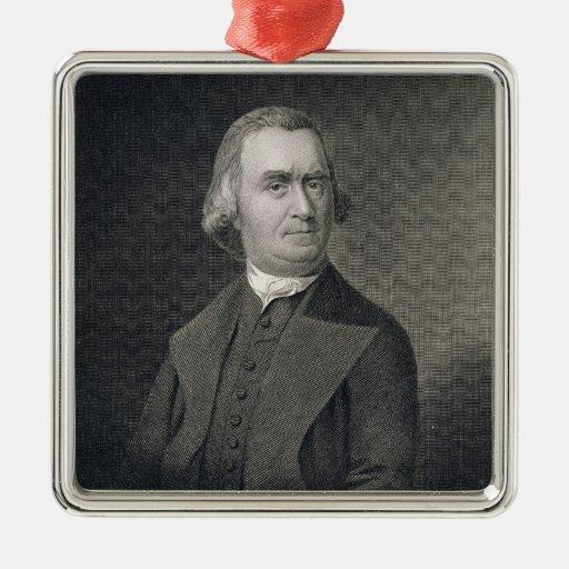 Samuel Adams, grabado por G.F. Storm (fl.c.1834) a Adorno Cuadrado Plateado