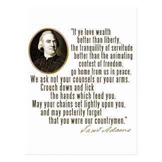 Samuel Adams Quote Postcard