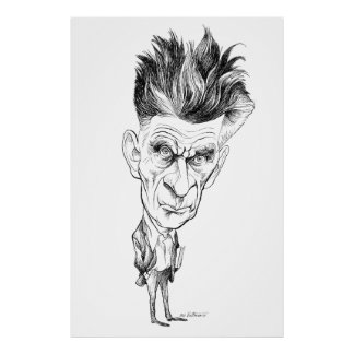 Samuel Beckett Caricature by Edmund S Valtman Posters