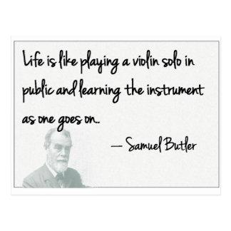 ¡Samuel Butler - la vida es incierta! Tarjeta Postal