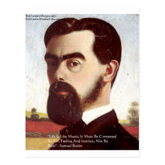 """Samuel Butler """"Life/Music"""" Wisdom Quote Gifts Postcard"""