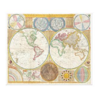 Samuel Dunn Wall Map of the World in Hemispheres Canvas Print