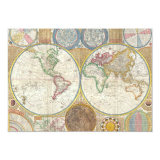 Samuel Dunn Wall Map of the World in Hemispheres 5x7 Paper Invitation Card