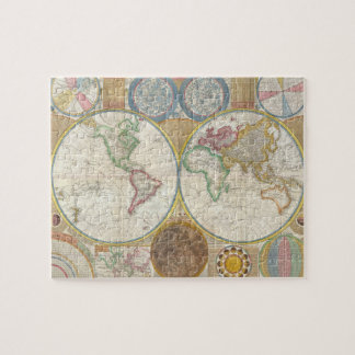 Samuel Dunn Wall Map of the World in Hemispheres Jigsaw Puzzle