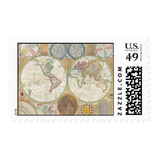 Samuel Dunn Wall Map of the World in Hemispheres Postage Stamp