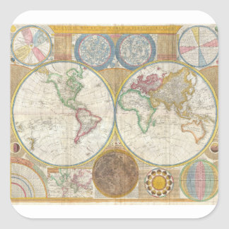 Samuel Dunn Wall Map of the World in Hemispheres Square Sticker