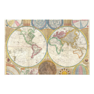 Samuel Dunn Wall Map of the World in Hemispheres Stationery
