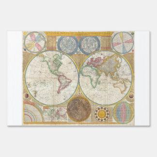 Samuel Dunn Wall Map of the World in Hemispheres Yard Sign