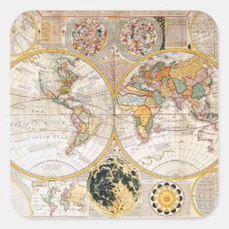 Samuel Dunn's 18th Century Dual Hemisphere Map Square Sticker