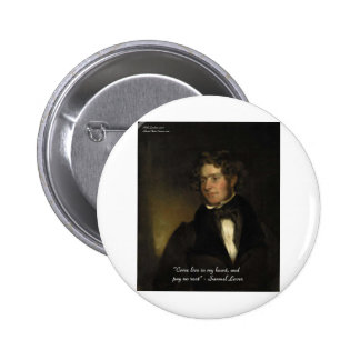 Samuel Lover Rent Free Heart Love Quote Gifts Button