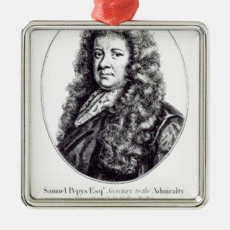 Samuel Pepys Square Metal Christmas Ornament