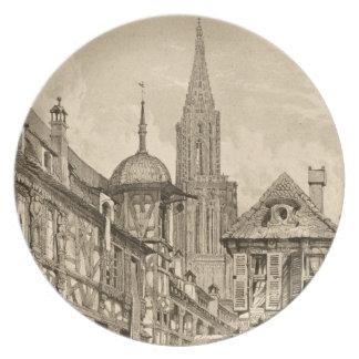 Samuel Prout Strasbourg Street Scene Vintage 1915 Plate