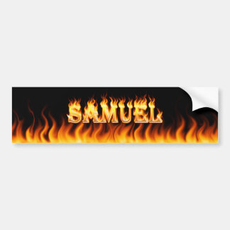 Samuel real fire and flames bumper sticker design.
