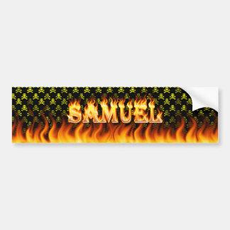 Samuel real fire and flames bumper sticker design. car bumper sticker