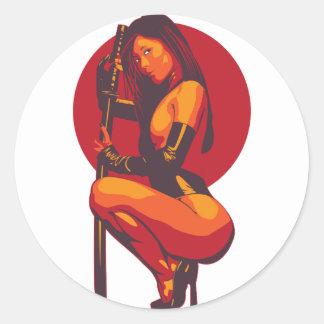 Samurai 11 classic round sticker