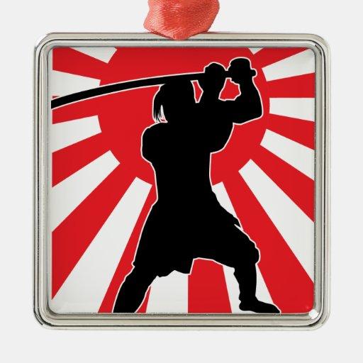 Samurai 2 adorno navideño cuadrado de metal