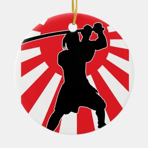 Samurai 2 adorno redondo de cerámica