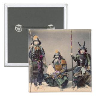 Samurai 3 en foto del vintage de la armadura pin cuadrada 5 cm
