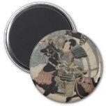 Samurai a caballo circa 1800s tempranos imán redondo 5 cm