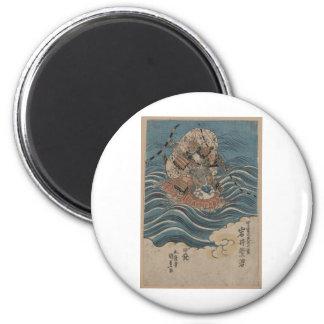 Samurai a caballo en agua circa Japón 1830 Imán Redondo 5 Cm