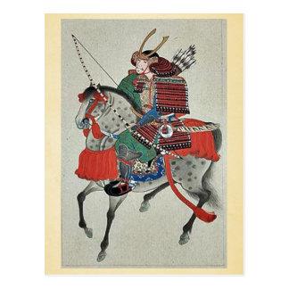 Samurai a caballo, llevando la armadura tarjetas postales