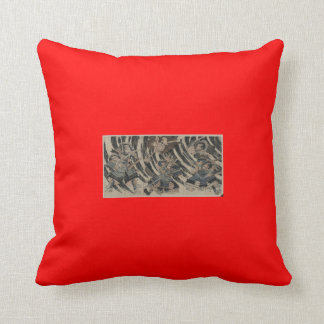 Samurai and Demon circa 1818 Throw Pillow