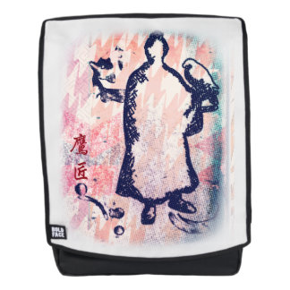 Samurai and Falcon Watercolor Sakura Pink Graffiti Backpack