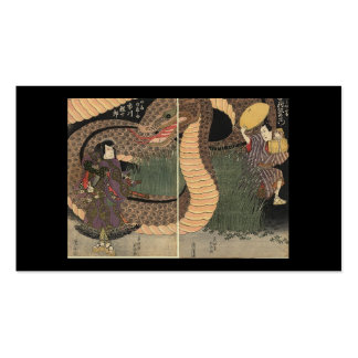 Samurai and giant serpent circa 1822 business cards