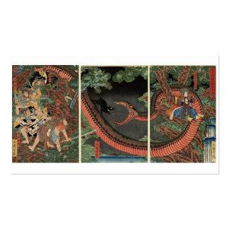 Samurai and giant serpent circa 1861 business card