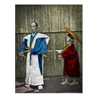 Samurai and Servant Postcard